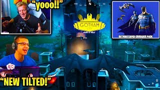 Streamers React LANDING in GOTHAM CITY w/ NEW Fortnite Batman Skins + Emotes!