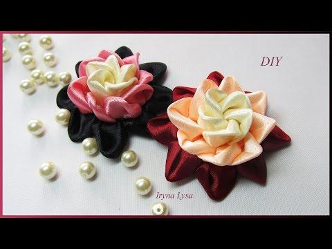 Цветы из атласной ленты мастер класс 5 см