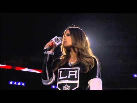 Pia Toscano Sings National Anthem Kings vs. Sharks October 8, 2014
