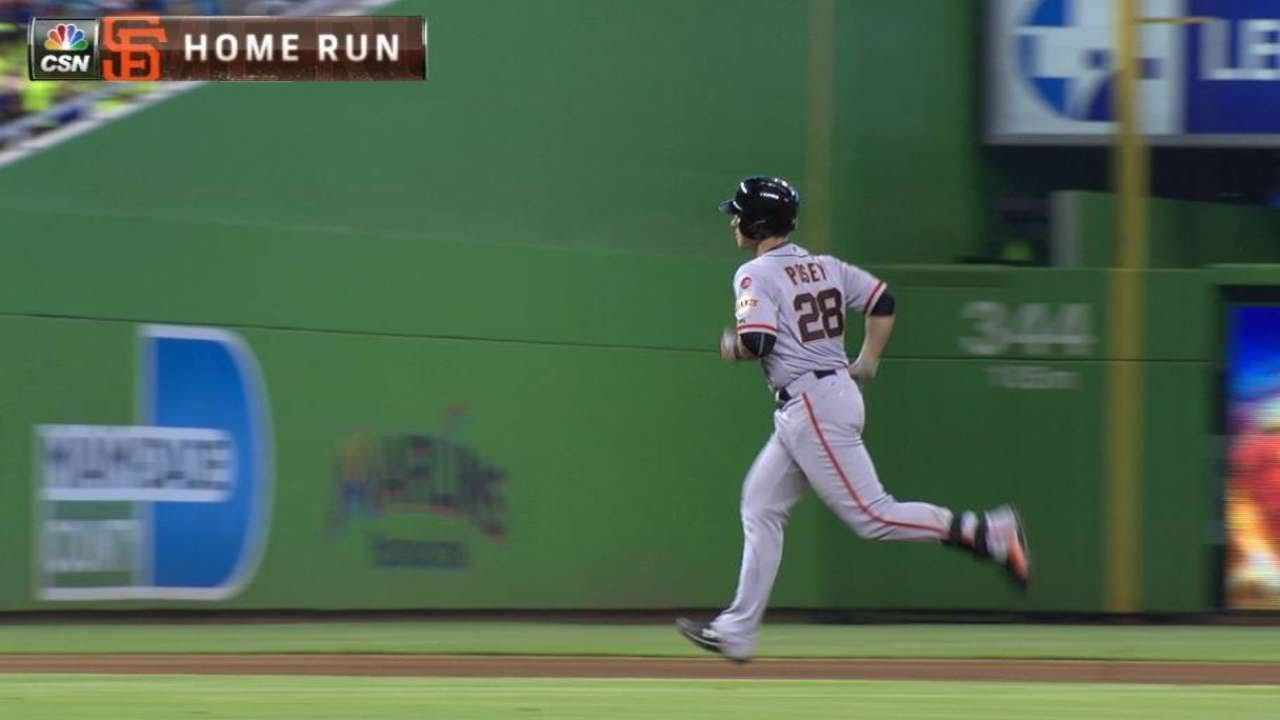 SF@MIA: Posey smacks a solo shot to cut the deficit