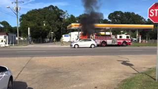 Car fire at a Shell gas station in Norfolk Va.