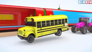Train Transporter & Excavator - Car Parking Colours for Children to Learn with Street Vehicles