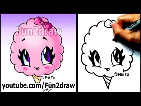 Cotton Candy Treat - Summer Snacks - Cartoon Art Drawing Lesson