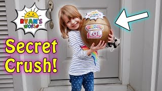 SECRET CRUSH Sent CUSTOM Ryan ToysReview Giant Egg through a PORTAL! with L.O.L. Surprise, Poopsies!