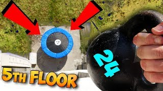 What if I drop a Kettlebell  on the Trampoline from the fifth floor? SHOCKED!!!