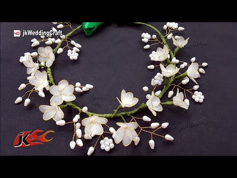 How to make a Wedding Floral Crown / Tiara  | JK Wedding Craft 134