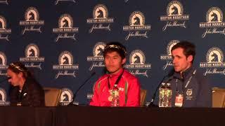 Desiree Linden and Yuki Kawauchi 2018 Boston Winners Press Conference