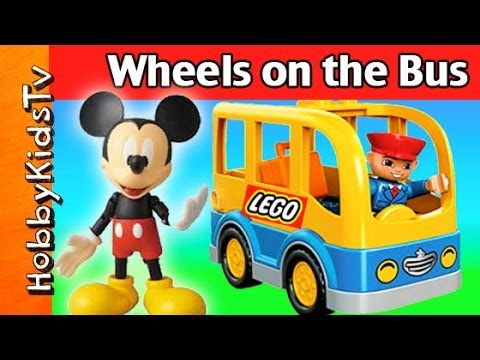 Mickey Mouse Wheels on the Bus! SONG + Clubhouse, Peppa, Lego, Duplo HobbyKidsTV