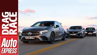Mercedes-AMG A 35 vs Honda Civic Type R vs Volkswagen Golf R drag race - battle of the hot hatches