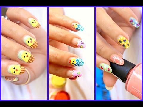 Easter Nail Art ♥ 3 Cute Designs Tutorial - 3 Aranyos húsvéti köröm tipp