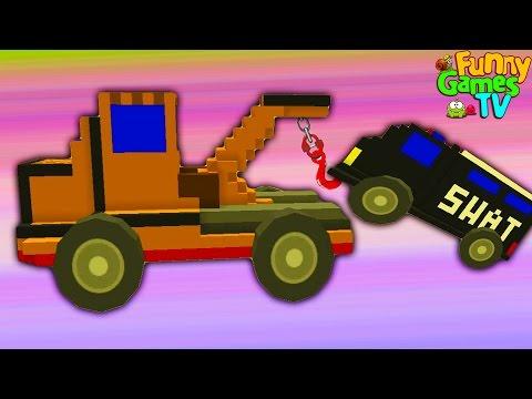 BDD #4 Как мультик про машинки танки тачки полицейский грузовик автокран битва тачек видео для детей