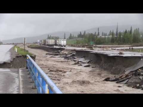 Highway 1 through Canmore Alberta is closed both ways this June 20, 2013. Cougar Creek has washed out the highway.
