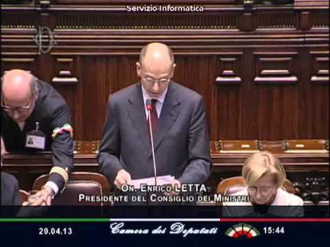 Enrico Letta: il discorso al Parlamento per la fiducia - 29 aprile 2013