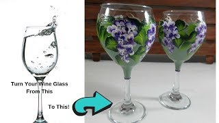 DIY Painted Wine Glasses with Acrylic Paint | Tutorial | Beginners | Aressa | 2019