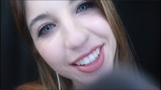 ASMR Face Brushing & Up-Close Whispers ~ Wet Mouth Sounds, Stuttering & Repeating Words