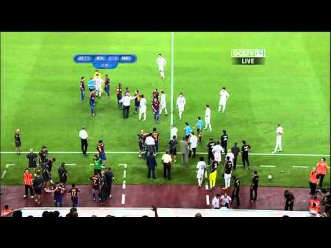 Real Madrid vs Barcelona Supercopa Brawl in English, August 17, 2011 Fabregas, Ozil, Villa Red Card
