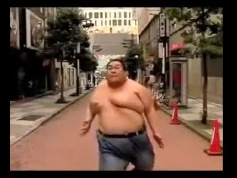 Fat man running gif