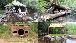 Primitive Technology: Build Stone Hut, House in the Trunk, Hobbit House, Tiled Roof Hut
