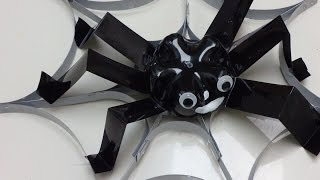 Recycled Crafts for Halloween: Spider on the Web out of Plastic Bottles