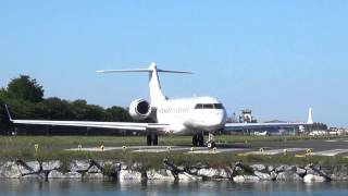 Bombardier BD-700 Global Express XRS (9H-COL) takeoff EAS/LESO