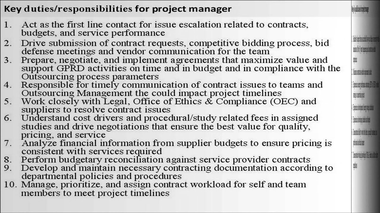 Program Manager Duties – Construction Manager Job Description