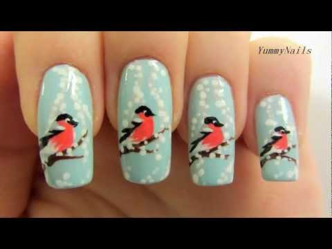 Wintery Finnish Christmas Design with Snowy Branches & a Red-Bellied Bullfinch Nail Art Tutorial