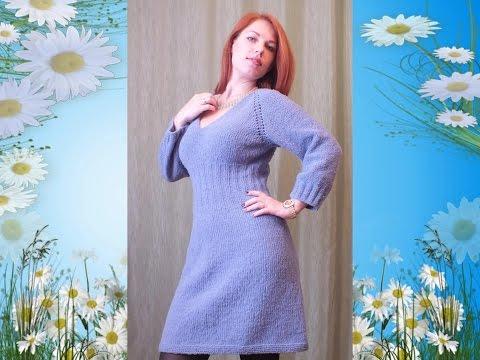 Вязаное платье спицами реглан мастер класс How to knit a woman's dress.