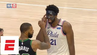 Joel Embiid trash-talks Marcus Morris, so Morris responds by flashing '3-0' sign | ESPN