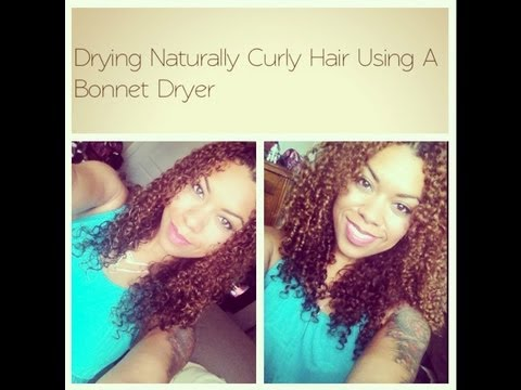 Drying Naturally Curly Hair Using A Hair Bonnet Dryer