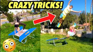 MINI TRAMPOLINE TRICKS WITH GAVIN MAGNUS AND COCO QUINN!
