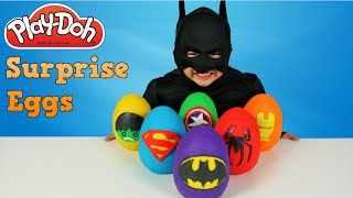 Play-doh Superhero Surprise Eggs Opening With Batman Spiderman Superman Hulk Ironman Ckn