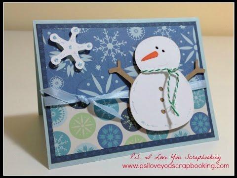 Homemade snowman christmas card using doodlecharms cricut for Penguin christmas cards homemade