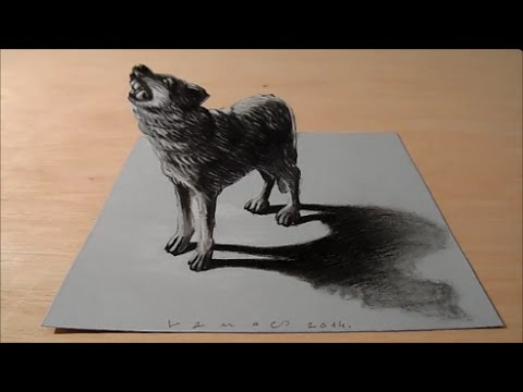 how to draw a 3d wolf