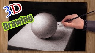 Drawing in 3D ! Timelapse /How To Draw a realistic ball