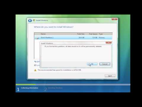 Format and Clean Install Windows Vista