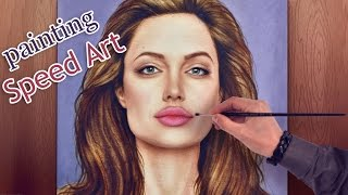 Angelina Jolie AMAZING speed painting (How to Draw a face) HD