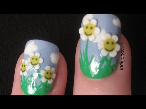 Daisies In A Field Fimo Nail Art Tutorial