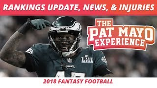 2018 Fantasy Football Rankings Update  News Notes