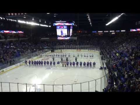 The mic didn't work, but River Hawk Nation had it covered and took over singing of the National Anthem. The River Hawks went on to win the season home opener...