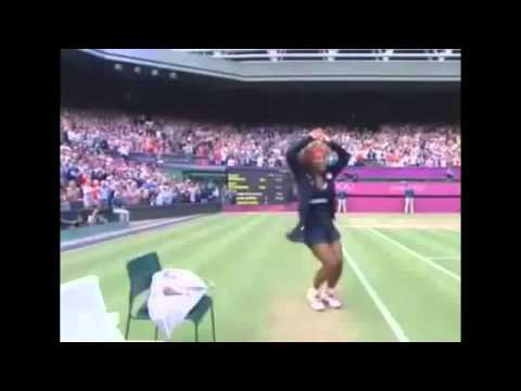 Serena williams funny dance at london olympic 2012 womens tennis final gold medal -