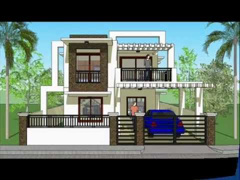 House plan designs modern 2 storey house youtube for Simple modern two story house design