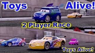 Cars 2: The video game - 2 player splitscreen Race on Terminal Sprint