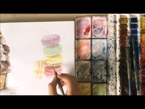 Watercolor Painting - French Macarons