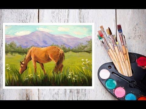 Видео как нарисовать лошадь красками