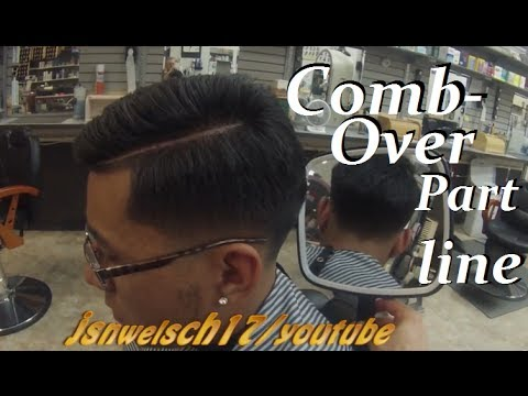 Mens combover haircut /How to shave the part line/mens comb over hairstyle