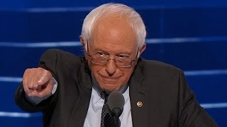 Bernie Sanders delivers remarks at the DNC