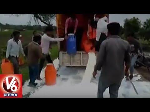 Milk Flows Again On Roads As SSS Activists Protest Against Govt Demanding Price Hike | V6 News