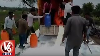 Milk Flows Again On Roads As SSS Activists Protest Against Govt Demanding Price Hike