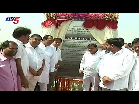 Minister KTR Inaugurates Kandlakoya Express Way Road | Hyderabad | TV5 News