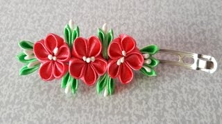 DIY kanzashi flower hairclip, kanzashi flower tutorial Kanzashi Brooch ✾ ❀ ❁